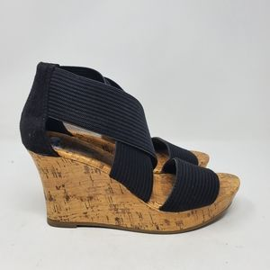 Seychelles Manhattan black strapped Wedge shoes
